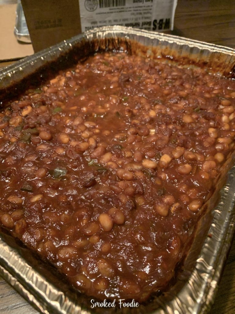 here's a full pan of the smoked baked beans ready to be enjoyed.