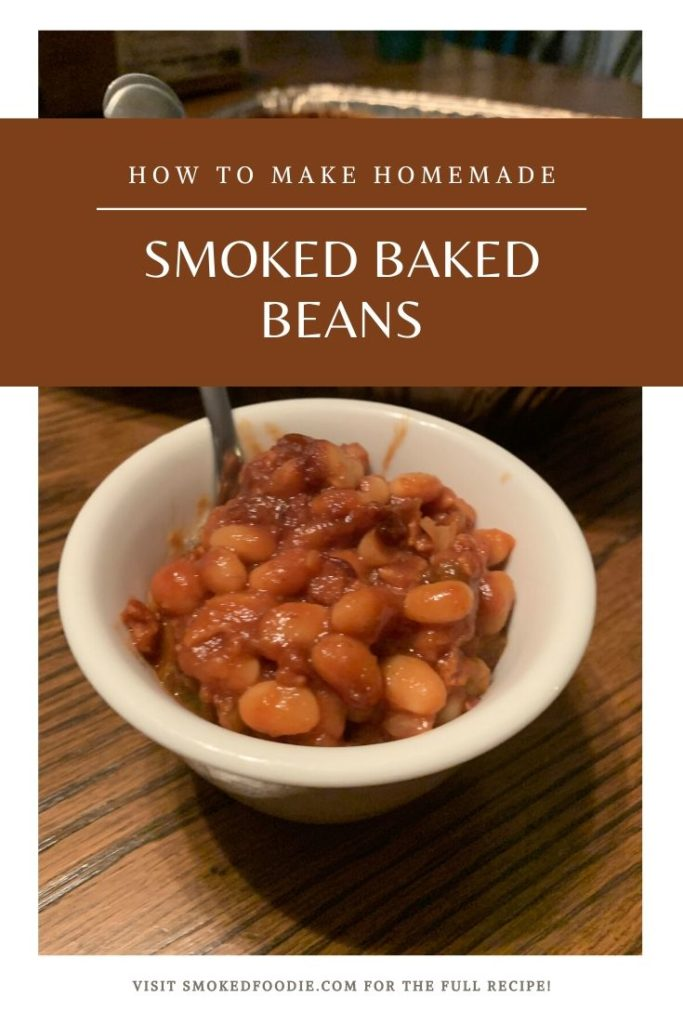 Another pin showing the smoked baked beans recipe finished and ready to eat.
